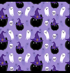 Halloween witch cat and ghost seamless pattern vector