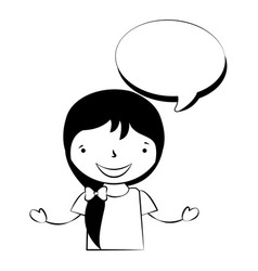 happy girl with speech bubble vector image