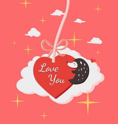 happy valentines day with hedgehog hug heart vector image