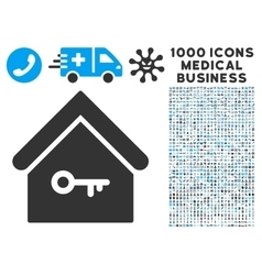 Home Key Icon with 1000 Medical Business Symbols vector image