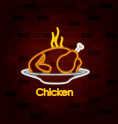 hot chicken dish on neon sign on brick wall vector image