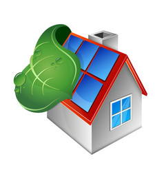 house with solar panels and green leaf vector image