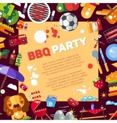 Invitation template flat design barbecue vector