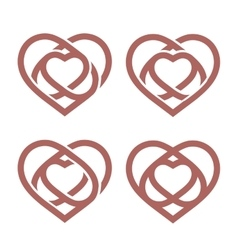 Isolated abstract monoline heart logo set Love vector image