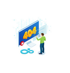 isometric error 404 page layout design the vector image