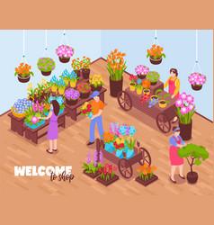 Isometric florists shop composition vector
