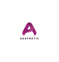 Letter a purple color eco-friend natural logo vector