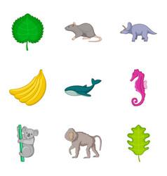 Live world icons set cartoon style vector
