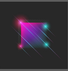 luminous neon moving square 80s dance night club vector image
