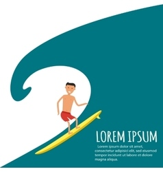 Male Surfer Riding on Waves in the Sea vector image