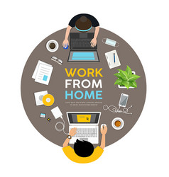 Man and woman work from home on desk vector