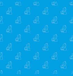 Man operator pattern seamless blue vector