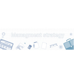 management strategy word on squared background vector image