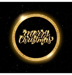 Merry Christmas lettering in golden frame vector image