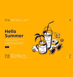 milkshake cocktails isometric landing web banner vector image