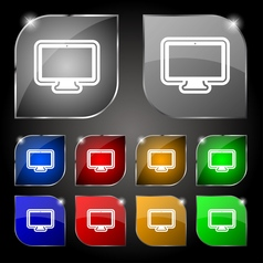 monitor icon sign Set of ten colorful buttons with vector image