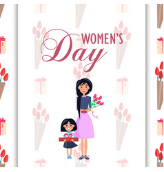 Mother and daughter with presents on womens day vector