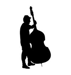 music man play contra bass street artist vector image