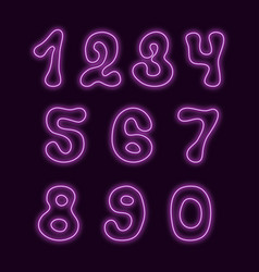 Neon style numbers with hand drawn symbol shapes vector