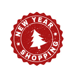 New year shopping grunge stamp seal with fir-tree vector