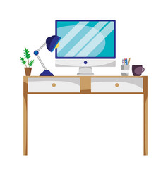 Office desk with lamp and computer screen vector