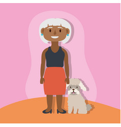 Old afro woman with dog active senior character vector