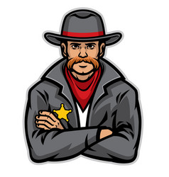 old style sheriff posing vector image