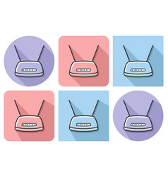 Outlined icon of wireless fidelity router with vector