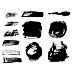 paint brush strokes set grunge design elements vector image