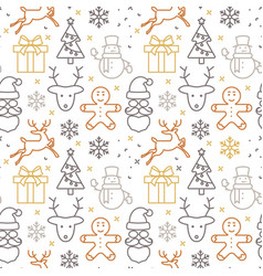 pattern with christmas cartoon symbols on white vector image