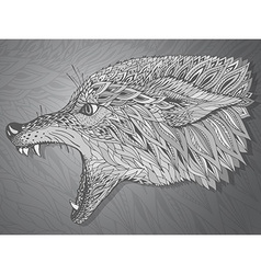 patterned head wolf tribal ethnic totem vector image