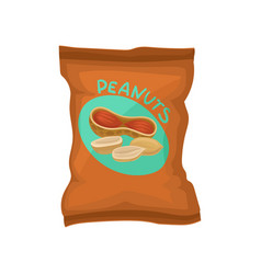 peanuts in brown pack with label delicious and vector image