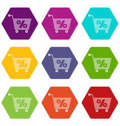 Percent trolley icons set 9 vector