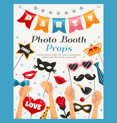 Photo booth party props poster vector