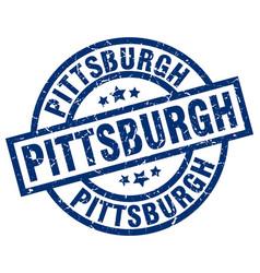 Pittsburgh blue round grunge stamp vector