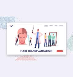 Plastic surgery hair loss problem landing page vector