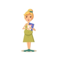 Pregnant Woman with Doctor Paperwork vector