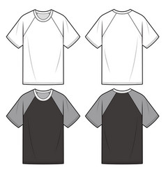 Raglan sleeve tee fashion flat sketch template vector