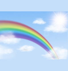 rainbow arch on blue sky with clouds background vector image