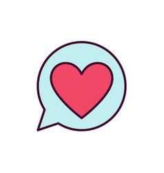 red heart in speech bubble icon love vector image