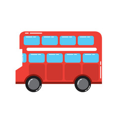 Red london double decker bus public transport vector