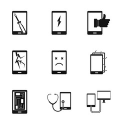 Repair phones fix icon set simple style vector