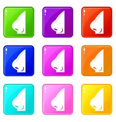 Rhinoplasty of nose icons 9 set vector