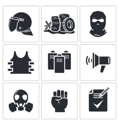 Riots in the street icons set vector
