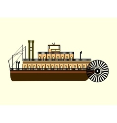 River retro steamer with a water wheel blades vector