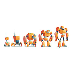 robots evolution line cartoon concept vector image