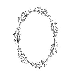 rustic circle branches with leaves and flowers vector image