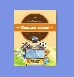 School poster design with bus ball bag vector