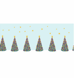 seamless christmas tree border hand drawn vector image