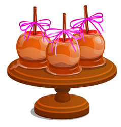 Set candy apple dipped in melted caramel with vector
